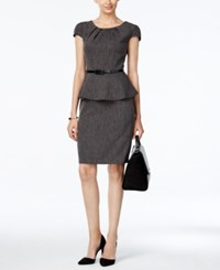 Connected Belted Peplum Sheath Dress Black