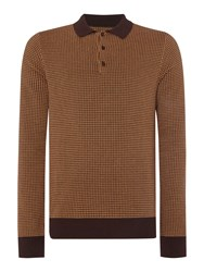 Peter Werth Orton Dogtooth Knitted Long Sleeved Cotton Crew N Camel