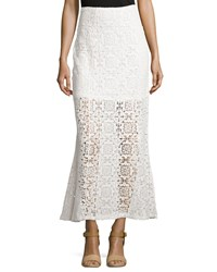 Liquid By Sioni Flared Crochet Maxi Skirt Eggshell