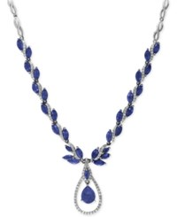 Effy Royale Bleu Sapphire 10 1 2 Ct. T.W. And Diamond 9 10 Ct. T.W. Fancy Teardrop Statement Necklace In 14K White Gold