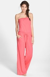 Women's Hard Tail Strapless Shelf Bra Jumpsuit Poppy Pink