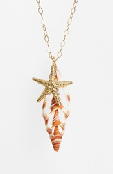 Ki Ele Starfish And Shell Pendant Necklace Gold Natural