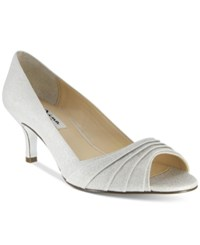 Nina Carolyn Peep Toe Evening Pumps Women's Shoes Argento