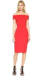 Yigal Azrouel Mechanial Stretch Off Shoulder Dress Cardinal Red