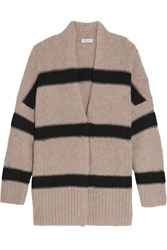 Brunello Cucinelli Striped Alpaca Blend Cardigan Cream