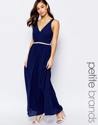 Jarlo Petite V Neck Maxi In Chiffon With Embellished Waist Navy