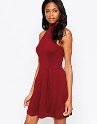 Ax Paris Skater Dress With Cut In Neck Wine Red