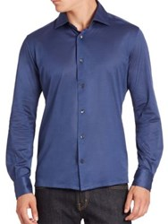 Luciano Barbera Solid Cotton Shirt Blue
