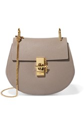 Chloe Drew Small Textured Leather Shoulder Bag Light Gray