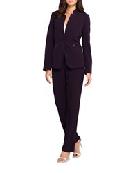 Tahari By Arthur S. Levine Petite Two Piece Solid Jacket And Pant Suit Set Eggplant