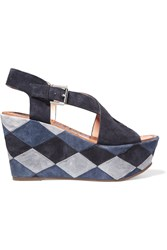 Sigerson Morrison Gella Patchwork Suede Wedge Sandals Blue