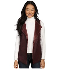 Dylan By True Grit Easy Rider Vintage Faux Leather Reversible Vest Claret Women's Vest Red