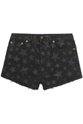 Saint Laurent Cut Off Printed Stretch Denim Shorts Midnight Blue