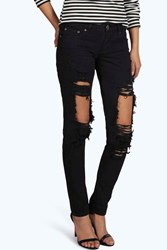 Boohoo Low Rise Distressed Thigh Skinny Jeans Black