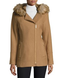 Diane Von Furstenberg Faux Fur Hooded Asymmetric Zip Coat Camel