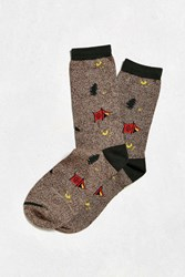 Urban Outfitters Campsite Sock Brown