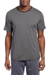 Daniel Buchler Stripe Silk And Cotton Crewneck T Shirt Gray