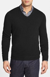 Men's Big And Tall John W. Nordstrom Cashmere V Neck Sweater Black Caviar