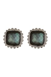 Lagos Sterling Silver Black Mother Of Pearl And Crystal Earrings Metallic