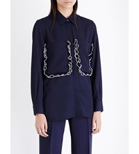 Victoria Beckham Ruffled Pocket Woven Shirt Navy Black