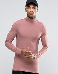 Asos Extreme Muscle Long Sleeve T Shirt With Roll Neck In Pink Pink