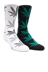 Huf 2 Pack Plantlife Crew Socks Black And White