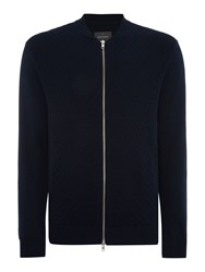Peter Werth Terry Pattern Crew Neck Zip Fastening Cardigan Navy
