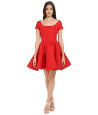 Zac Posen Short Sleeve Boat Neck Fit And Flare Dress Grenadine