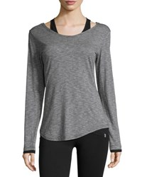 Marc New York Twofer Striped Long Sleeve Tee Blk Lt Gry