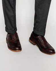 New Look Embossed Brogue Shoes Burgundy