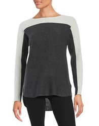 Lord And Taylor Colorblocked Cashmere Sweater Light Grey Heather