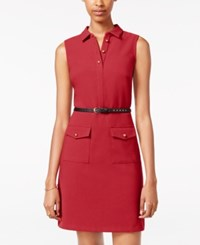 Xoxo Juniors' Belted Shirtdress Cranberry