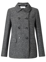 John Lewis Double Breasted Pea Coat Grey Herringbone