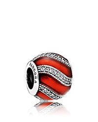 Pandora Design Charm Sterling Silver Red Enamel And Cubic Zirconia Moments Collection Red Silver