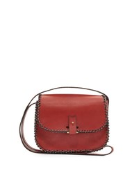 Lacontrie Rohan Small Whipstitched Crossbody Bag Red Black White Red Black And White