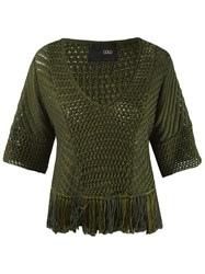 Andrea Bogosian V Neck Knit Blouse Green