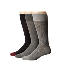 Cole Haan Modern Diamond Crew 3 Pack Grey Heather Navy Charcoal Heather Men's Crew Cut Socks Shoes Multi