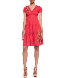 Johnny Was Flora Tiered And Embroidered Dress