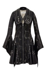 Rodarte Laser Cut Leather Dress Black