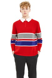Opening Ceremony Waffle Zip Polo Cardinal Red
