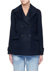 Vince Double Breasted Wool Cashmere Peacoat Blue