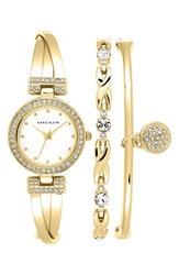 Anne Klein Watch And Bangles Set 24Mm Gold