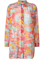 Kenzo Vintage Floral Sheer Tunic Shirt Pink And Purple