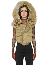 Dsquared Military Stretch Cotton Twill And Fur Vest