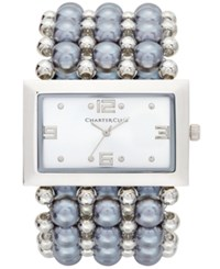 Charter Club Women's Silver Tone Imitation Pearl Stretch Bracelet Watch 40Mm Only At Macy's