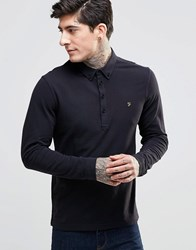 Farah Polo Shirt With Long Sleeves In Slim Fit Black Black