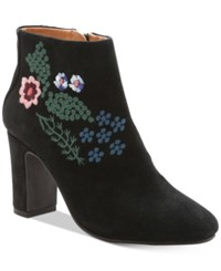 Nanette Lepore By Beverly Embroidered Booties Women's Shoes Black Suede