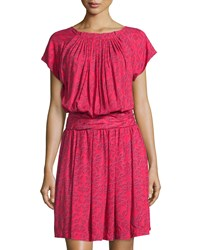 See By Chloe Printed Short Sleeve Blouson Dress Red