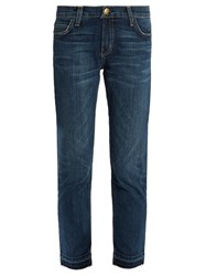 Current Elliott The Cropped Mid Rise Straight Leg Jeans Mid Blue