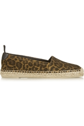 Saint Laurent Leopard Print Brushed Suede Espadrilles